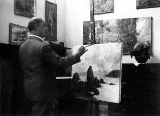 PINTOR Pedro Bruno pintando quadro - pedras ponte da saudade